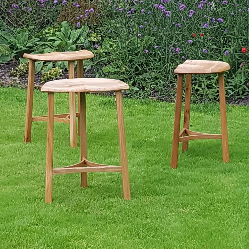 Elm three leg stools